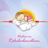 image of rakhi  - Cute little boy sleeping on clouds decorated rakhi with wishes for Happy Raksha Bandhan celebrations - JPG