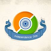 foto of indian independence day  - Indian Independence Day celebration concept with beautiful icon in Indian National Flag colors and blue ribbon on grungy brown background - JPG