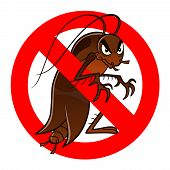 stock photo of cockroach  - Anti pest sign with a funny cartoon cockroach - JPG