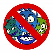 picture of virus  - Anti disease sign with a funny cartoon virus - JPG