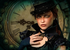 stock photo of steampunk  - 3d computer graphics of a young woman with clothing in Steampunk style - JPG