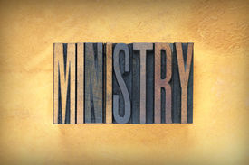 picture of tabernacle  - The word MINISTRY written in vintage letterpress type - JPG