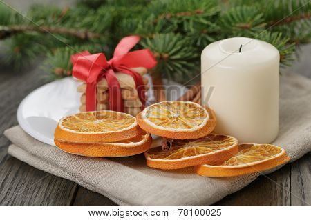 Christmas Composition With Cookies And Candle