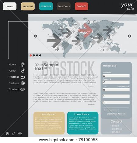 Website template minimal color, vector