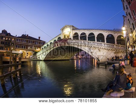 Rialto Bridge By Night With People