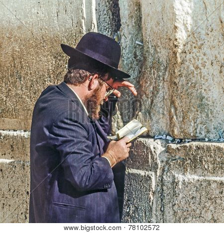 Orthodox Jewish Man Prays At The Western Wall