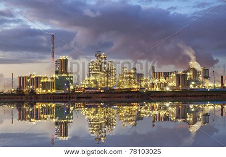 Factory In The Industrial Area Of Antwerp In The Evening