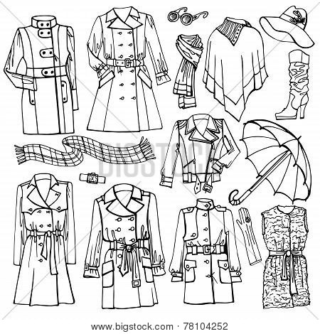 Outline Sketchy clothing.Females outerwear,accessories set