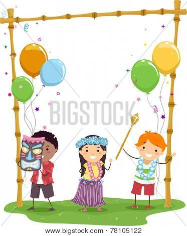 Illustration of Kids Having a Hawaiian Themed Party