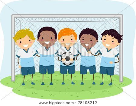 Illustration of Little Boys Dressed in Soccer Uniforms