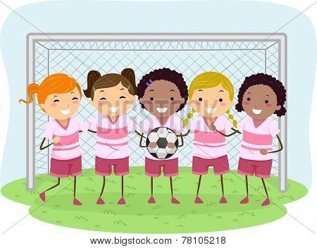 Illustration of Little Girls Dressed in Soccer Uniforms