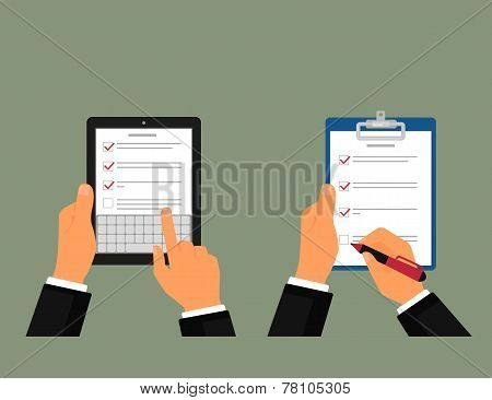 Tablet pc and notepad with task list