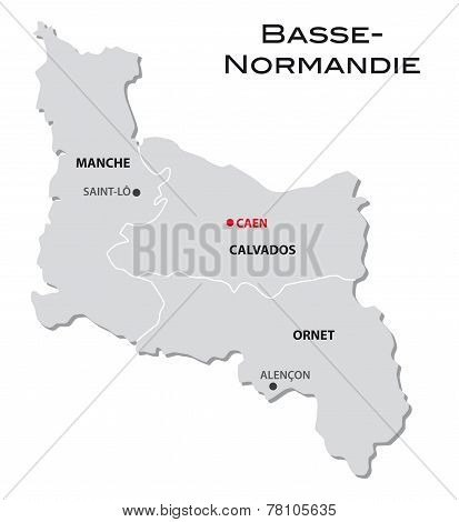 Simple Administrative Map Basse-Normandy