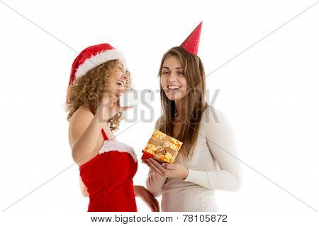 Two girls take selfie in cristmas costumes