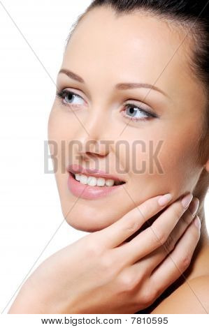 Fresh Laughing Woman Touching Her Body