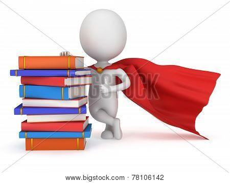 Brave Superhero Student With Red Cloak