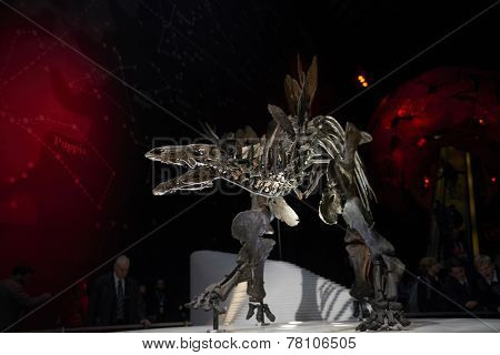 LONDON, UK - DECEMBER 11: Detail of Stegosaurus skeleton at the Natural History Museum. December 11, 2014 in London. The new skeleton went on display at the museum on the 4th December 2014.
