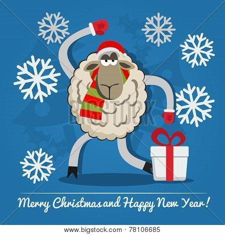Sheep With Gift Box On Christmas Eve.