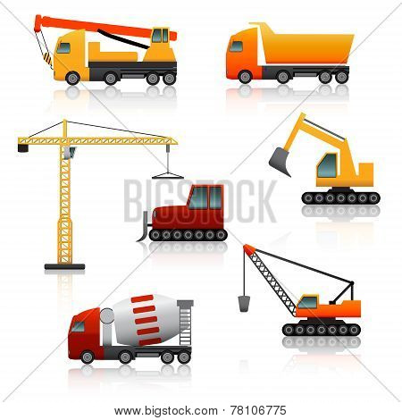 Icon Construction Equipment  .crane, Scoop, Mixer With Reflection