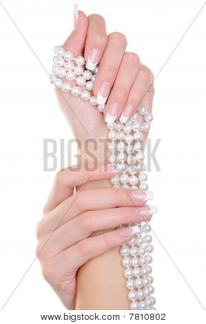 Beauty Female Fingernails With French Manicure