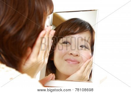 Japanese woman with good condition skin