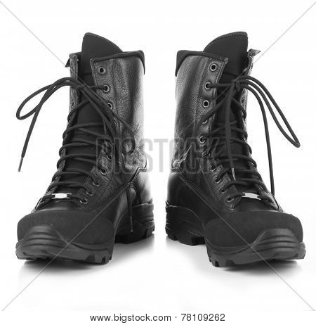 Black army boots, isolated on white