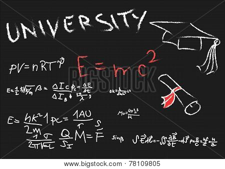 Blackboard With Physics Formulas, Hat Graduate And Undergraduate