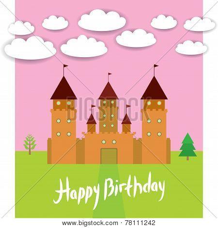Card With Castle princess fairytale landscape. Happy birthday card. vector