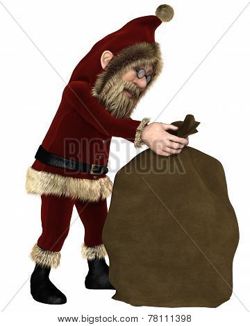 Santa Claus with Sack of Christmas Gifts