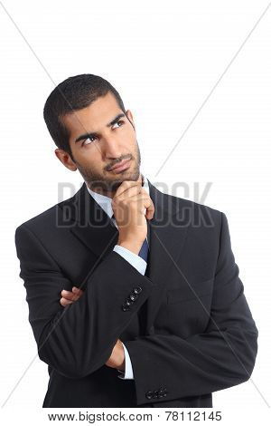 Arab Business Man Thinking Serious Looking Sideways