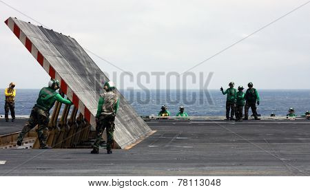 Jet Blast Deflector On A Carrier