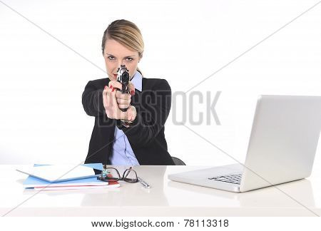 Businesswoman Pointing Gun At Office Desk In Bossy And Killer Employee Attitude