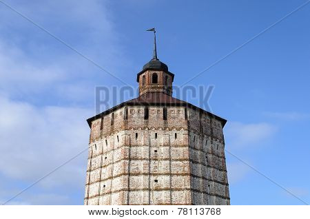 Upper Part Of Tower In Ancient Russian Monastery