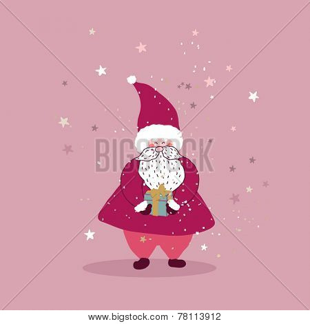 santa claus with little gift