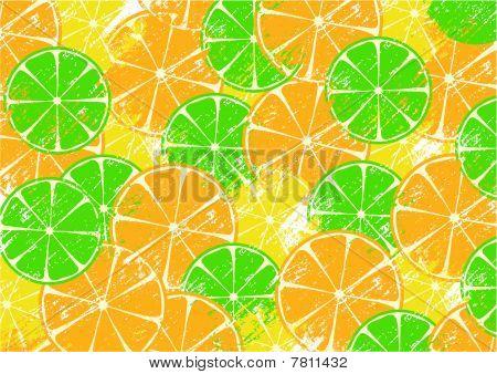 Grunge background with slices of orange, lemon and lime
