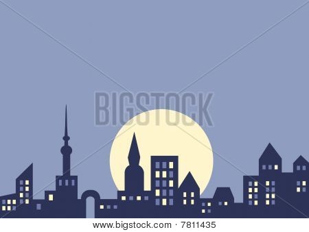 Vector background: city at night