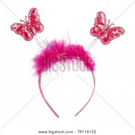 Pink Band On The Head With Butterflies