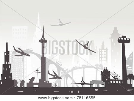 City airport illustration