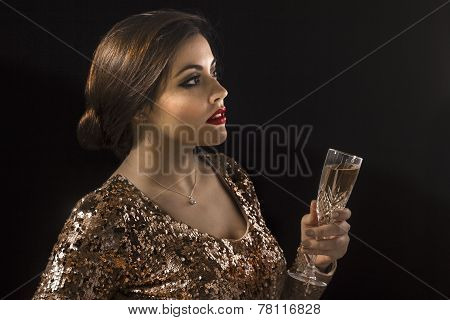 Girl Holding A Champagne Glass