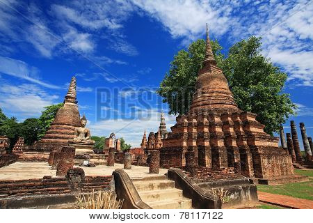 Ancient Pagodas At Wat Mahathat, Thailand