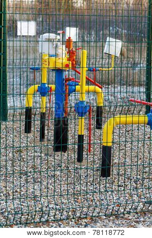 Gas Pipes Behind A Protection