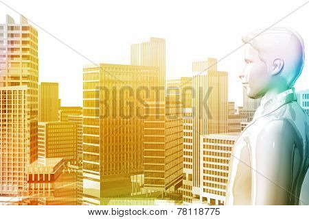 Businessman Looking City Skyscrapers