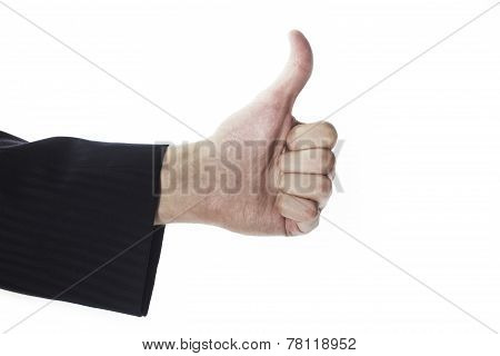 Male Hand With Thumbs Up Gesture