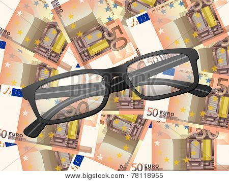 Reading Glasses On Fifty Euro Background