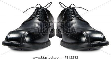 Classic Men's Black Club Shoe Isolated Macro Closeup