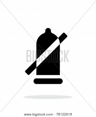 Condom ban icon on white background.