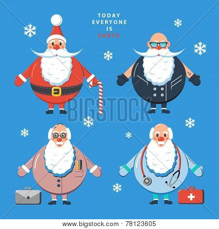 Today everyone is Santa. Color vector illustration.