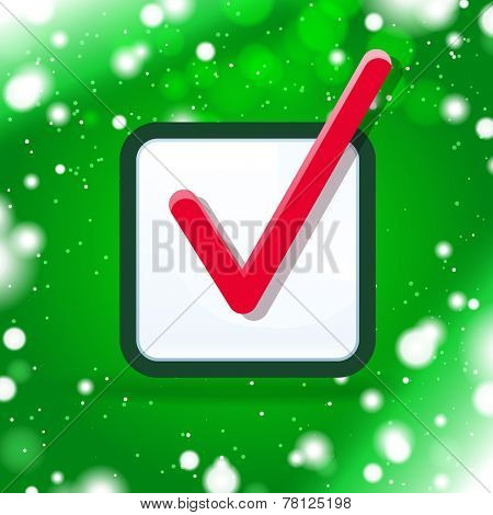 check box with green winter background