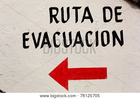 Evacuation Route Sign In Spanish