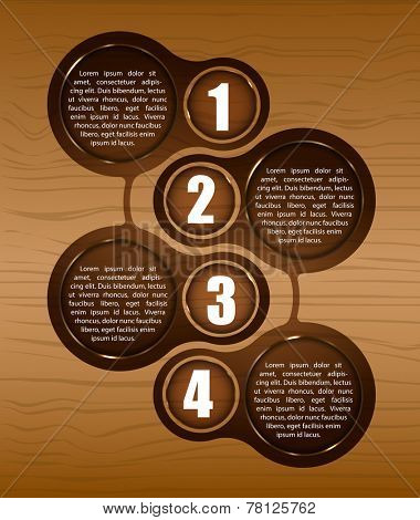 Vector wooden background with four steps and place for text. Can be used for a poster, leaflet or brochure.